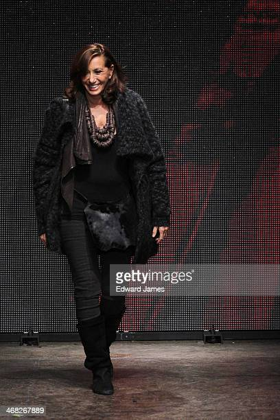 Designer Donna Karan walks the runway at DKNY Women's during MercedesBenz Fashion Week Fall 2014 at 547 West 26th Street on February 9 2014 in New...