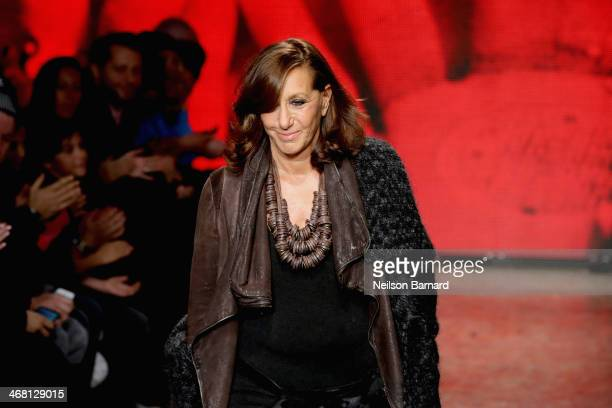 Designer Donna Karan walks the runway at the DKNY Women's fashion show during MercedesBenz Fashion Week Fall 2014 on February 9 2014 in New York City