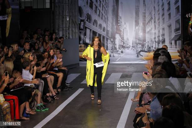Designer Donna Karan walks the runway at the DKNY Women's Spring 2013 fashion show during MercedesBenz Fashion Week on September 9 2012 in New York...