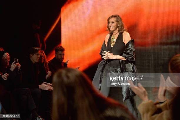 Designer Donna Karan walks the runway at the Donna Karan New York 30th Anniversary fashion show during MercedesBenz Fashion Week Fall 2014 on...