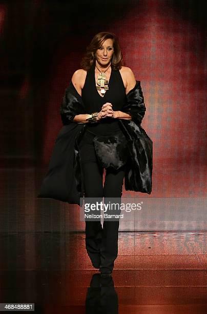 Designer Donna Karan walks the runway at the Donna Karan New York 30th Anniversary fashion show during MercedesBenz Fashion Week Fall 2014 on...