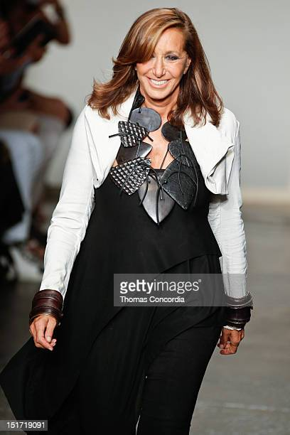 Designer Donna Karan walks the runway during the Donna Karan New York show during Spring 2013 MercedesBenz Fashion Week at 547 West 26th Street on...