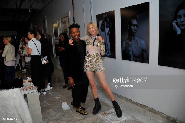 Designer Donnie Hue and artist Karen Bystedt attend Karen Bystedt's 'Kings And Queens' exhibition on March 9 2017 in Los Angeles California