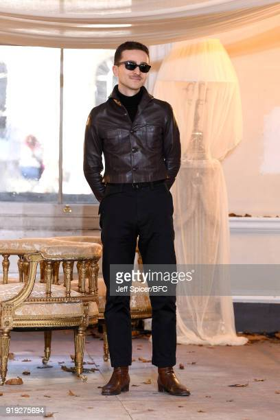 Designer Dora Teymur poses at the Dorateymur Presentation during London Fashion Week February 2018 at Somerset House on February 17 2018 in London...