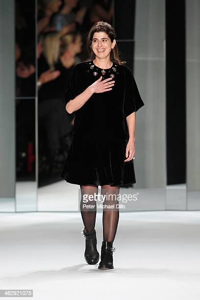 Designer Dorothee Schumacher acknowledges the audience after the Schumacher show during MercedesBenz Fashion Week Autumn/Winter 2014/15 at...