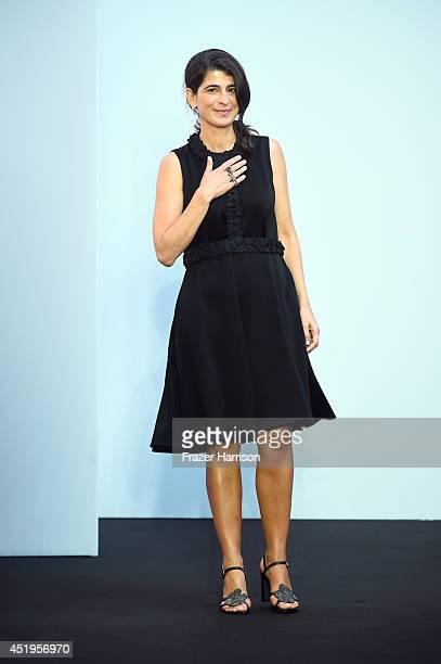 Designer Dorothee Schumacher appears on the runway after the Schumacher show during the MercedesBenz Fashion Week Spring/Summer 2015 at Sankt...
