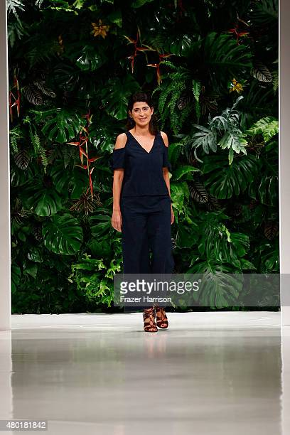 Designer Dorothee Schumacher on the runway at the Dorothee Schumacher show during the MercedesBenz Fashion Week Berlin Spring/Summer 2016 at Stage at...