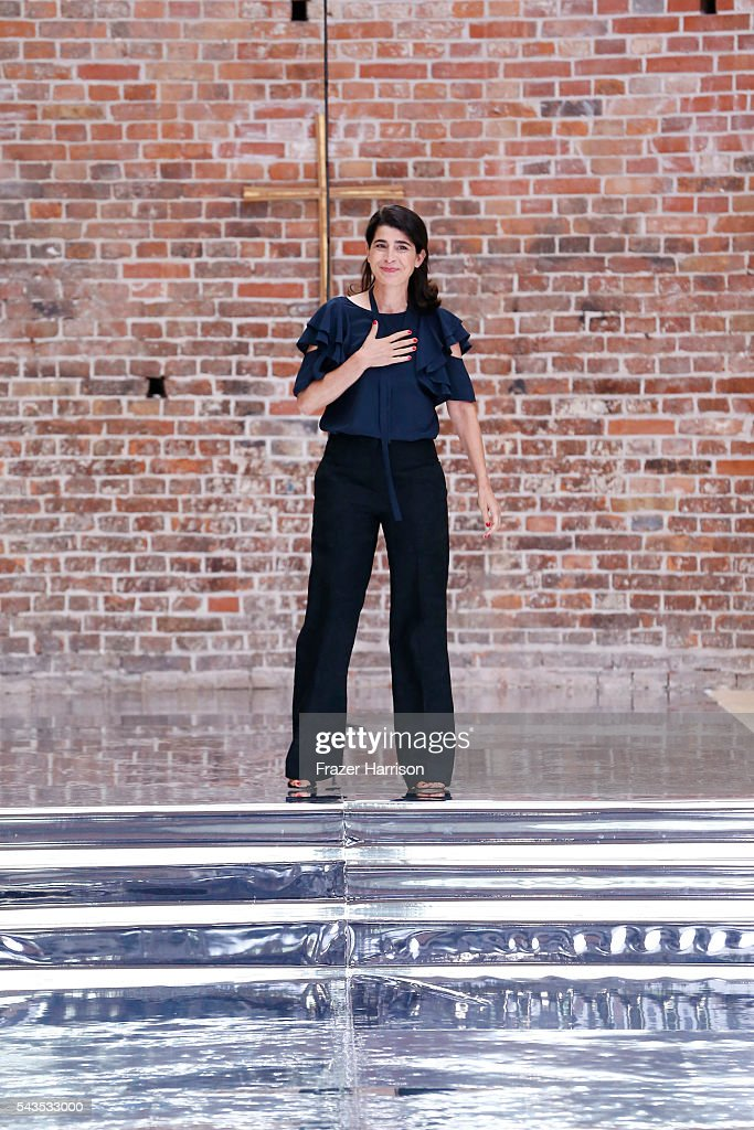 Designer Dorothee Schumacher walks the runway after her show during the Mercedes-Benz Fashion Week Berlin Spring/Summer 2017 at Elisabethkirche on June 29, 2016 in Berlin, Germany.