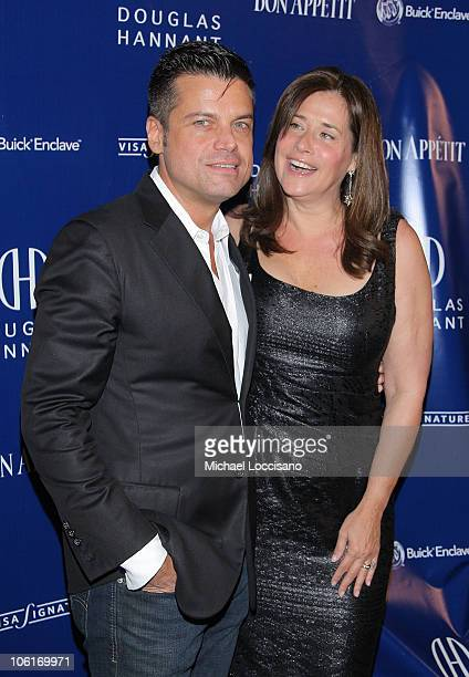 Designer Douglas Hannant and actress Lorraine Bracco arrives to Douglas' Tenth Anniversary Celebration at The Bon Appetit Supper Club in New York...