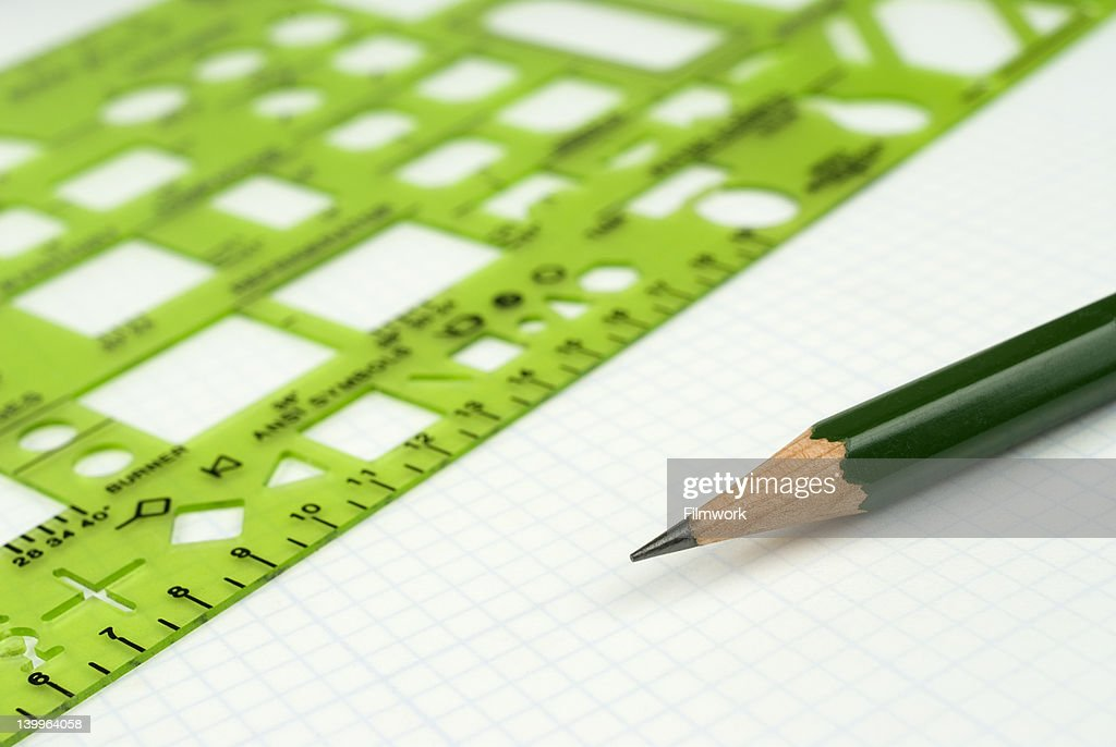 Designer Drawing Tools On Drafting Paper Stock Photo - Getty