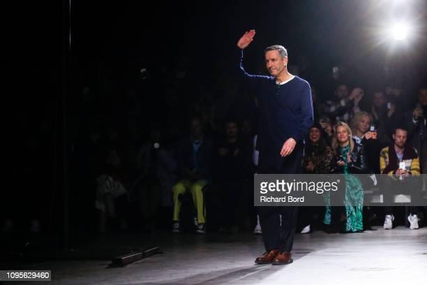 Designer Dries Van Noten acknowledges the audience during the Dries Van Noten Menswear Fall/Winter 20192020 show as part of Paris Fashion Week on...