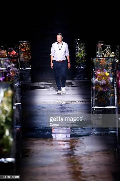 Designer Dries Van Noten walks the runway during the Dries Van Noten show as part of the Paris Fashion Week Womenswear Spring/Summer 2017 on...