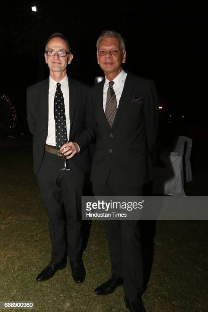Designer duo Didier Lecoanet and Hemant Sagar during the Good France 2017 annual dinner hosted by French Ambassador Alexandre Ziegler at his...