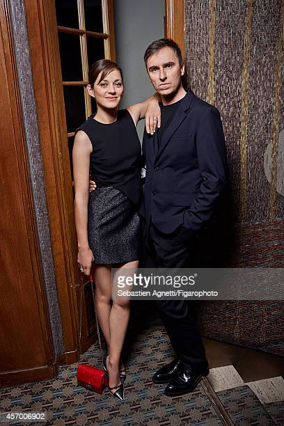 Designer Eaf Simons and actress Marion Cotillard are photographed for Madame Figaro on July 7, 2014 in Paris, France. PUBLISHED IMAGE. CREDIT MUST...