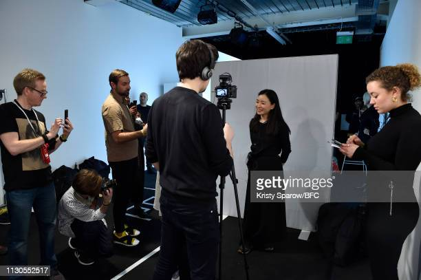 Designer Edeline Lee backstage ahead of her Edeline presentation during London Fashion Week February 2019 at the BFC Show Space on February 18, 2019...