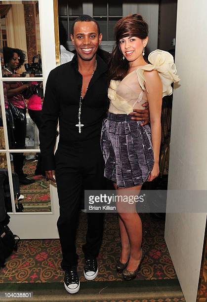 Designer Edwing D'Angelo and Sharina Ortiz backstage just before the start of Edwing D'Angelo Spring 2011 during MercedesBenz Fashion Week at The...