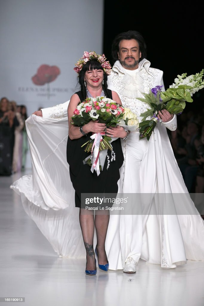Designer Elena Souproun and singer Philipp Kirkorov on the runway at the Elena Souproun show during Mercedes-Benz Fashion Week Russia Fall/Winter 2013/2014 at Manege on April 1, 2013 in Moscow, Russia.