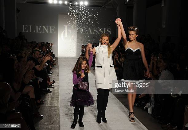 Designer Elene Cassis and Christine Staub walk the runway at the Elene Cassis Spring 2011 fashion show during MercedesBenz Fashion Week at Exit Art...