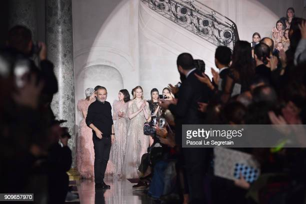Designer Elie Saab is seen on the runway during the Elie Saab Spring Summer 2018 show as part of Paris Fashion Week on January 24 2018 in Paris France