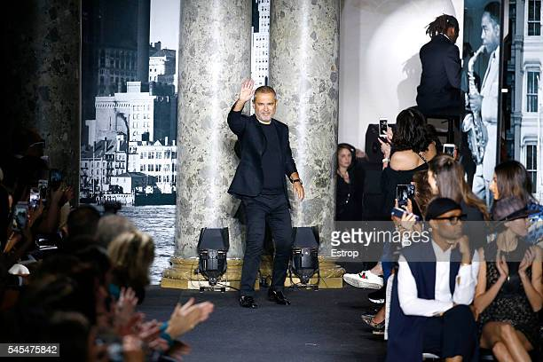 Designer Elie Saab walks the runway during the Elie Saab Haute Couture Fall/Winter 20162017 show as part of Paris Fashion Week on July 6 2016 in...