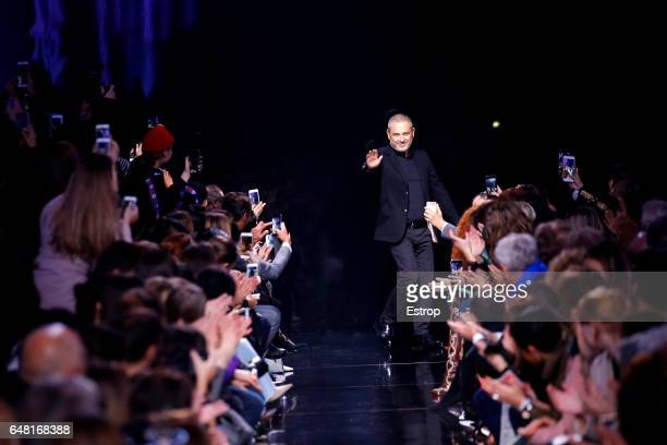 Designer Elie Saab walks the runway during the Elie Saab show as part of the Paris Fashion Week Womenswear Fall/Winter 2017/2018 on March 4 2017 in...