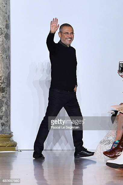 Designer Elie Saab walks the runway during the Elie Saab Spring Summer 2017 show as part of Paris Fashion Week on January 25 2017 in Paris France