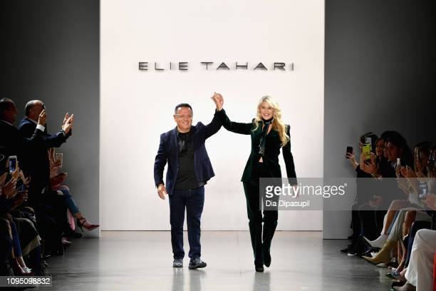 8cbc2bb11d72 Designer Elie Tahari and Christie Brinkley walk the runway for the Elie  Tahari fashion show during