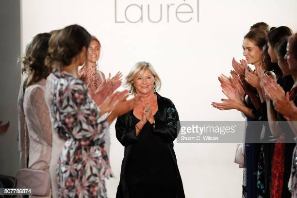 Designer Elisabeth Schwaiger acknowledges the applause of the audience at the runway at the Laurel show during the MercedesBenz Fashion Week Berlin...