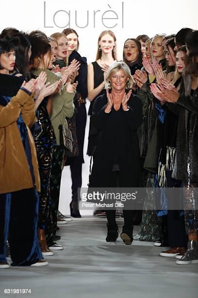 Designer Elisabeth Schwaiger acknowledges the audience after her Laurel show during the MercedesBenz Fashion Week Berlin A/W 2017 at Kaufhaus Jandorf...