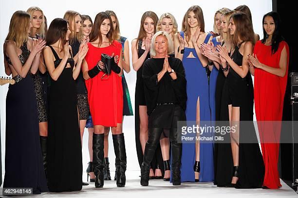 Designer Elisabeth Schwaiger and models pose on the runway after the Laurel show during MercedesBenz Fashion Week Autumn/Winter 2014/15 at...