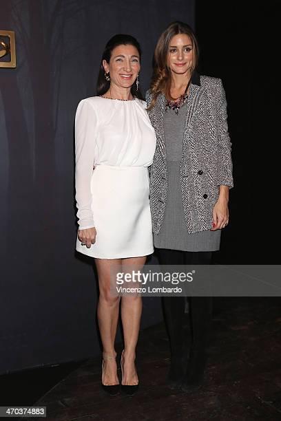 Designer Elisabetta Franchi and Olivia Palermo pose at the Elisabetta Franchi Presentation during Milan Fashion Week Womenswear Autumn/Winter 2014 on...