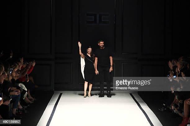 Designer Elisabetta Franchi walks the runway after her fashion show as part of Milan Fashion Week Spring/Summer 2016 on September 26 2015 in Milan...