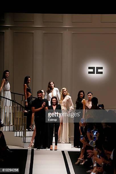 Designer Elisabetta Franchi walks the runway at the Elisabetta Franchi show Milan Fashion Week Spring/Summer 2017 on September 23 2016 in Milan Italy