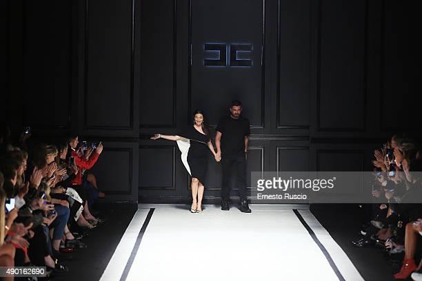 Designer Elisabetta Franchi walks the runway during the Elisabetta Franchi fashion show as part of Milan Fashion Week Spring/Summer 2016 on September...