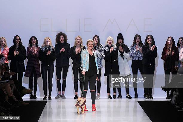Designer Ellie Mae walks the runway during the Ellie Mae fashion show at David Pecaut Square on March 15 2016 in Toronto Canada