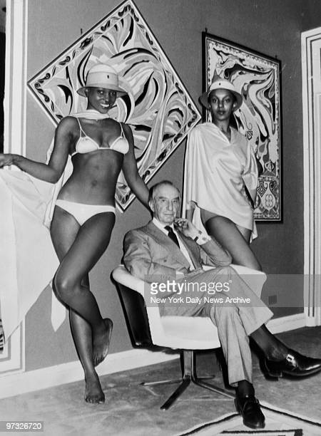 Designer Emilio Pucci with models wearing his designs.