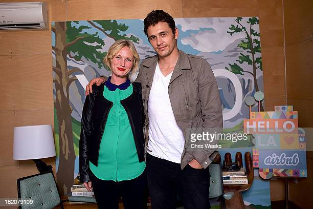 HGTV designer Emily Henderson and actor James Franco at his Hollywood Forever Cemetery PopUp at Airbnb's Hello LA Design Lab on Friday September 27...