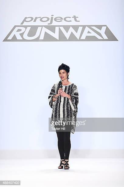 Designer Emily Payne presents her collection during the Project Runway Season 13 Finale Show at MercedesBenz Fashion Week Spring 2015 at The Theatre...