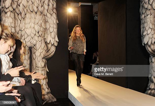 Designer Emma Hill walks the runway at the Mulberry Autumn/Winter 2012 show during London Fashion Week at Claridge's Hotel on February 19 2012 in...