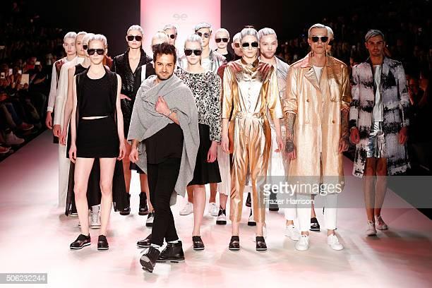 Designer Emre Erdemoglu and models on the runway at the end of at the Emre Erdemoglu show during the MercedesBenz Fashion Week Berlin Autumn/Winter...