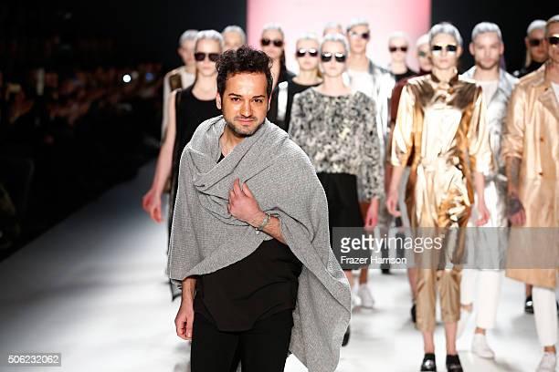Designer Emre Erdemoglu and models on the runway at the end of the Emre Erdemoglu show during the MercedesBenz Fashion Week Berlin Autumn/Winter 2016...