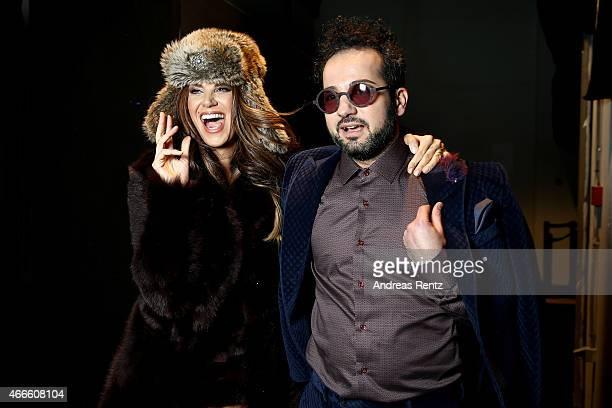 Designer Emre Erdemoglu and Tulin Sahin seen backstage at the Emre Erdemoglu show during Mercedes Benz Fashion Week Istanbul FW15 on March 17 2015 in...