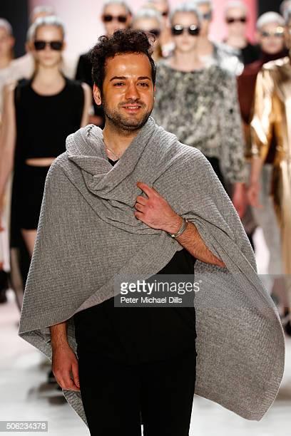 Designer Emre Erdemoglu attends his show during the MercedesBenz Fashion Week Berlin Autumn/Winter 2016 at Brandenburg Gate on January 22 2016 in...
