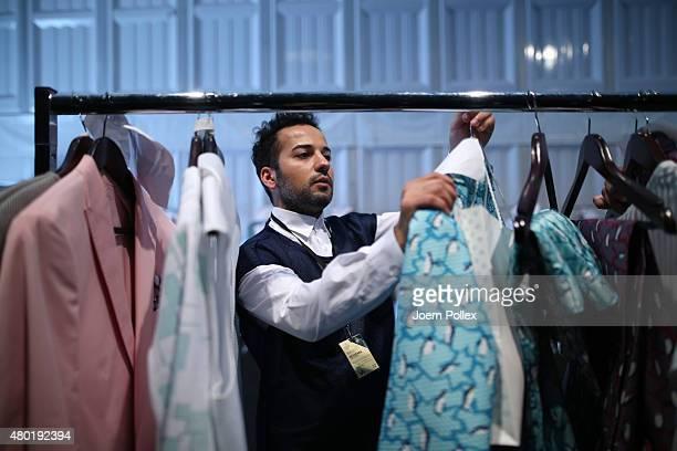 Designer Emre Erdemoglu is seen backstage ahead of the Emre Erdemoglu show during the MercedesBenz Fashion Week Berlin Spring/Summer 2016 at...