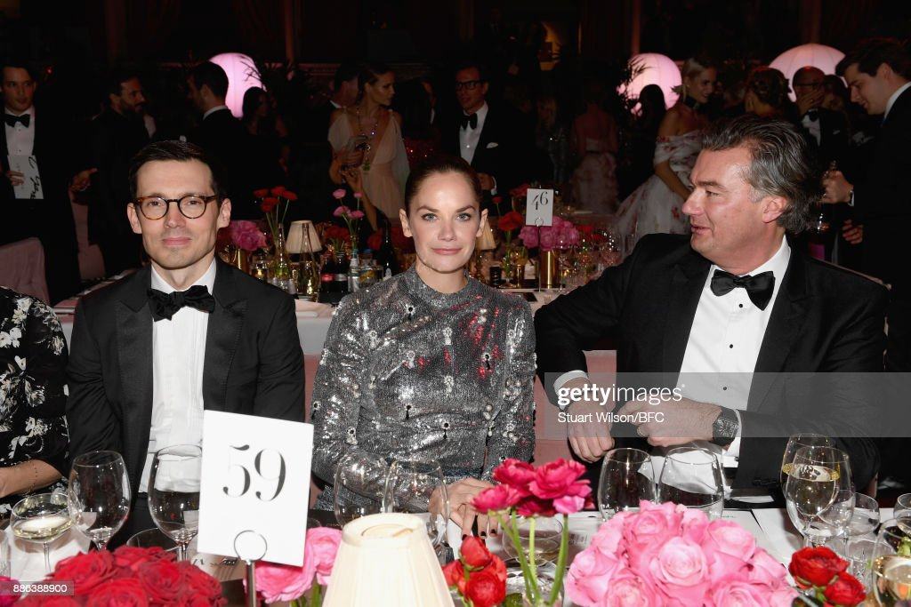 Designer Erdem Moralioglu, actress Ruth Wilson and guest during The Fashion Awards 2017 in partnership with Swarovski at Royal Albert Hall on December 4, 2017 in London, England.