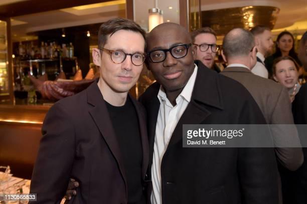 Designer Erdem Moralioglu and Edward Enninful attend the official Erdem London Fashion Week dinner at J Sheekey Atlantic Bar on February 18 2019 in...