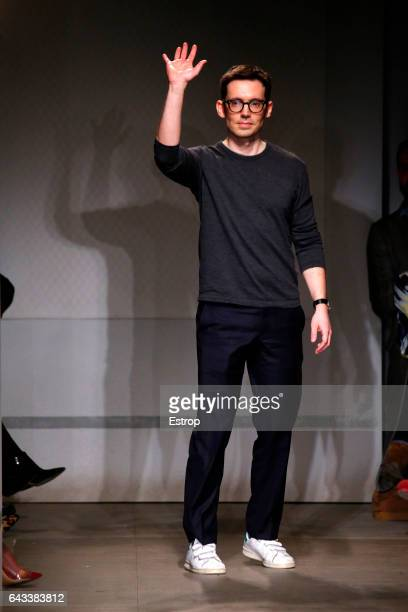 Designer Erdem Moralioglu walks the runway at the ERDEM show during the London Fashion Week February 2017 collections on February 20 2017 in London...