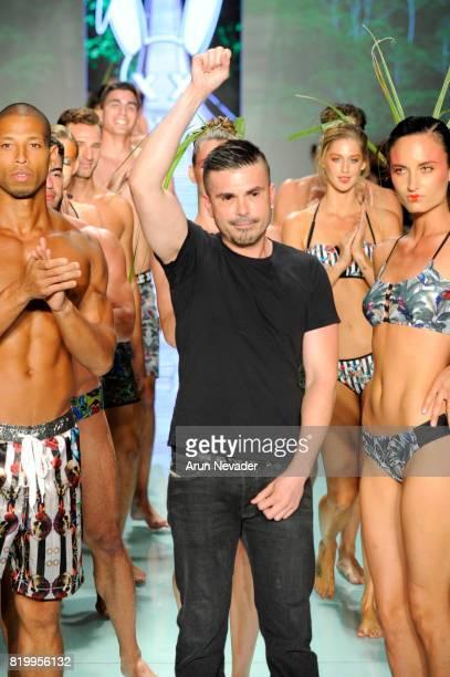 Designer Erik Rosete walks the runway during Mister Triple X at Miami Swim Week Art Hearts Fashion at FUNKSHION Tent on July 20, 2017 in Miami,...
