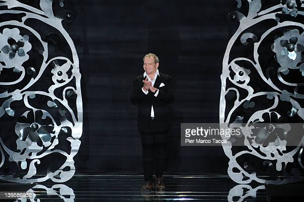Designer Ermanno Scervino applauds the audience after the show at the Ermanno Scervino Autumn/Winter 2012/2013 fashion show as part of Milan...