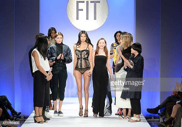Designer Esmeralda Fyhr walks the runway at The Fashion Institute Of Technology's Future Of Fashion Runway Show hosted by Nicole Richie at The...